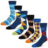 Men Novelty Argyle Dress Crew Socks Classic Colorful Assorted Striped Geometric