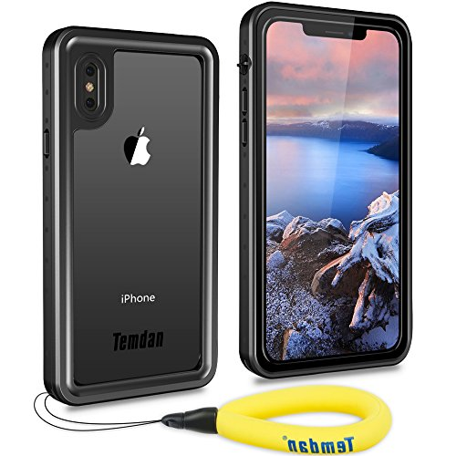 Temdan iPhone X/XS Waterproof Case, Built-in Screen Protector Shockproof Waterproof Rugged Case with Caranbiner Floating Strap Waterproof Case for iPhone X and iPhone Xs