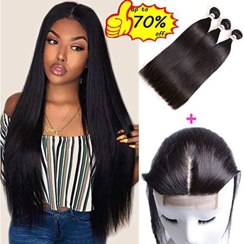 (Mirthful Brazilian Straight Human Hair 3 Bundles With Closure 8A 100% Unprocessed Virgin Straight Hair Weave Extensions With Lace Closure Middle Part Natural Black(10 12 14 w 10 middle)