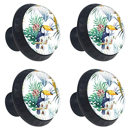 Idealiy Tropical Toucan Palm Leaves Cabinet Dresser Drawer Knobs Glass Pull Handle for Cabinet Door Wardrobe Cupboard