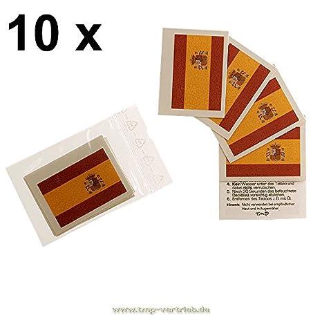 10 x conjunto de banderas de España as tatuaje temporal - Word Cup ...