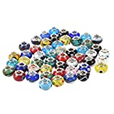 TOOGOO(R) 50 pc Lot Silver Lampwork Murano Glass European Mix Beads - Compatible with Most Major Charm Bracelets Such Chamilia, Troll, Biagi And More