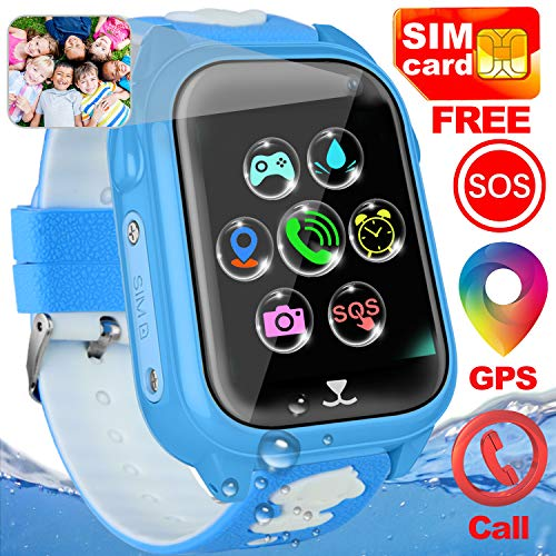 Kids Smart Watch Phone with Free SIM Card Outdoor IP67 Waterproof Sport Watch GPS Activity Tracker Call SOS Voice Chat Camera Alarm game Smartwatch Learning Toys Kid Boy Girl Age 4-12 Birthday Gifts