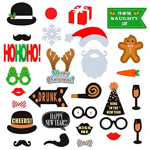 2 in 1 Christmas & New Years Eve Photo Booth Props - NO DIY REQUIRED Attached to the stick - Fun Holiday Party Decorations for All Family - Great Theme Party Kit - 29 Count ()