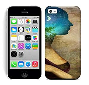 Best Power(Tm) HD Colorful Painted Watercolor The Side Of The Woman On The Moonlight Of The Forest Hard Phone Case For Iphone 5C