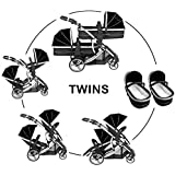 Duellette 21 Combo Twin Tandem Pushchair Baby Newborn carrycots Pram Travel system : 2 Pramette/seat units, 2 FREE Black footmuffs 2 Rain covers, Midnight Black by Kids Kargo