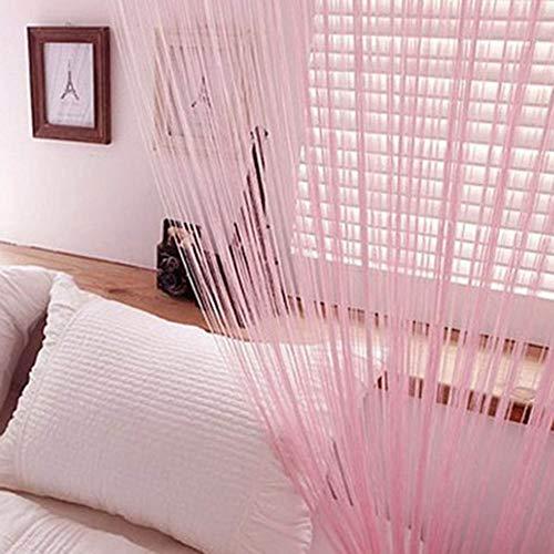 Norbi Window Door Room Divider Line String Curtain Tassel Scarf Valance (Light Pink) (Nba String Lights)