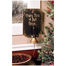 """Primitive Wall Mounted Hand Bell """"Every Time a Bell Rings..."""" Angel Wings 2 Piece Set"""