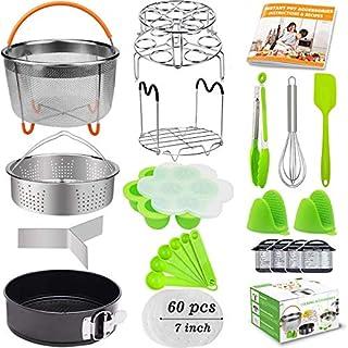 21Pcs Accessories for Instant Pot 6 qt 8qt, Ninja Foodi 8qt - 60 Pcs Parchment Papers, 2 Steamer Baskets, Springform Pan,Stackable Egg Steamer Rack, Instruction & Recipes Book