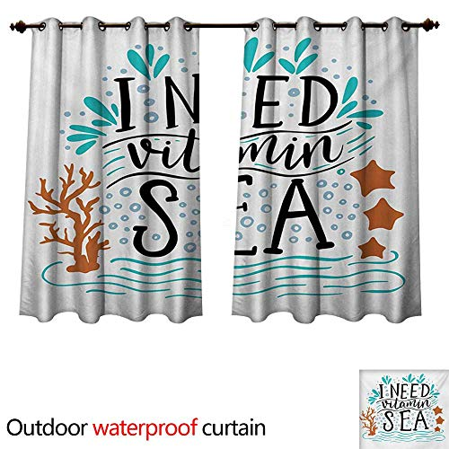 WilliamsDecor Sea Outdoor Ultraviolet Protective Curtains I Need Vitamin Sea Inspirational Quote Hand Drawn with Coral Waves Starfishes Bubbles W72 x L63(183cm x 160cm)