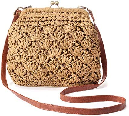 Vintage Kiss Lock Bag, JOSEKO Women Straw Crossbody Bag Casual Shoulder Handbag Evening Clutch Purse Summer Beach Party
