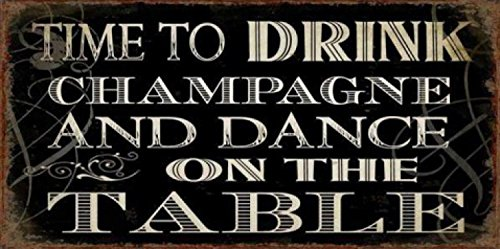 Fun Magnetic Tin Sign, Vintage Style Magnet - Time To (Drink Vintage Champagne)