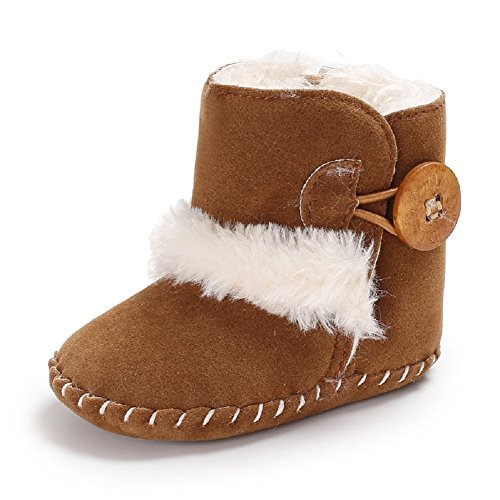 Baby Soft Sole Snow Crib Shoes Toddler Boots Brown - 1