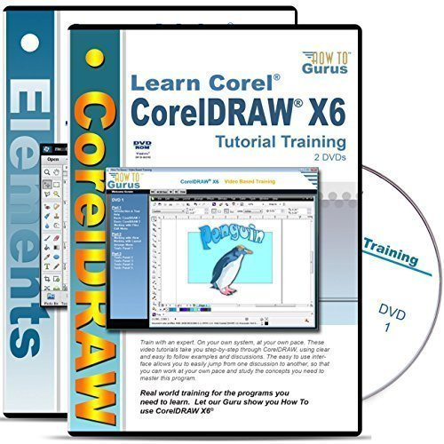 Corel Draw CorelDRAW X6 tutorial plus Adobe Photoshop Elements 13 training 4 DVDs