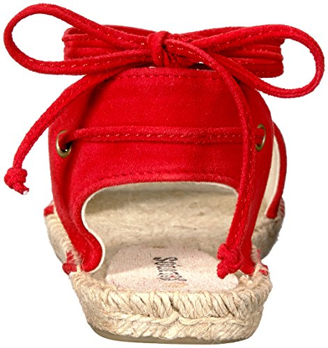 Soludos Women's Balearic Tie-up Sandal Flat, Fire Red, 8.5 B US