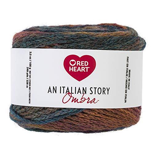 Red Heart R182.9285 Italian Story Ombra Wool Blend Yarn, Multi