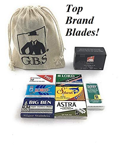 GBS 50 Double Edge Razor Blades variety pack - Derby, LORD, Dorco, Astra, Big Ben, Shark - Comes with Gbs Alum block! Breaks into single edge blade! Pair with GBS (Best Gbs Double Edge Blades)