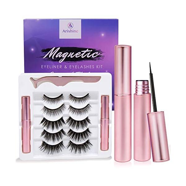 Arishine-Magnetic-Eyeliner-and-Lashes-Kit-Magnetic-Eyeliner-for-Magnetic-Lashes-Set-With-Reusable-Lashes-5-Pairs