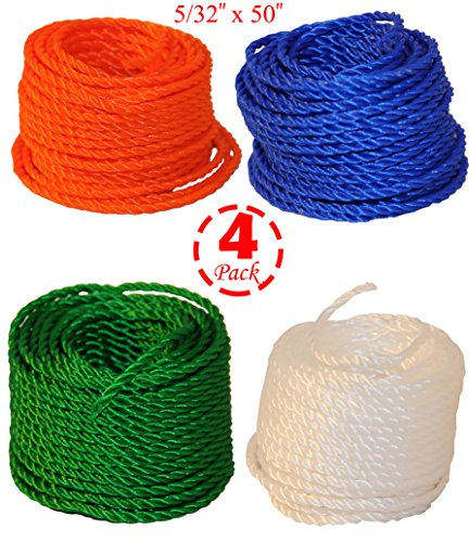 """(Set of 4) Twisted Poly Rope, Fishing / Camping / Farming Rope, Color Assorted, 5/32"""""""