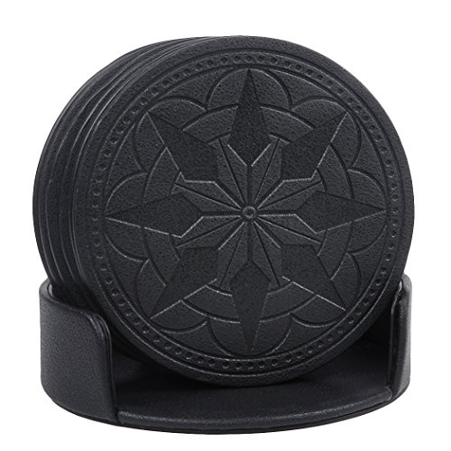 Coaster Leather Black Set - Drink Coasters,365park PU Leather Coasters Set of 6 with Holder for Glasses,Good Grip, Deep Tray,Black