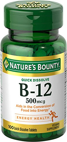 Nature's Bounty B-12 500 mcg, 100 Quick Dissolve Tablets (Natures Bounty 30 Tablets)
