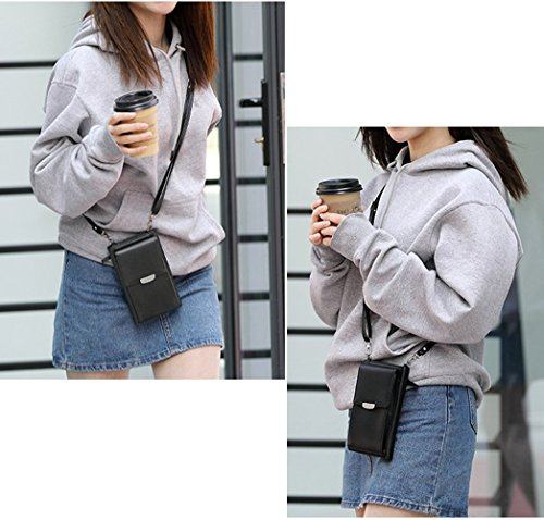 For Bag Strap Phone Black Crossbody Small Shoulder with Wallet Cell 1 Women Girls Purse aTzxx5wq