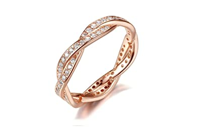 Dixey Luxury Anillos de Plata Laminado en Oro 18K Zirconia Studded Finger Ring for Women (