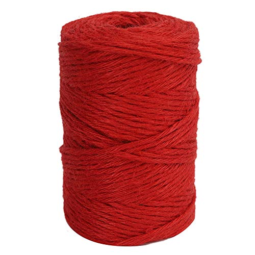 Ply Hemp 3 (Vivifying 328 Feet 3mm Twine, Strong Jute Rope for Garden, Gifts, Crafts (Red))