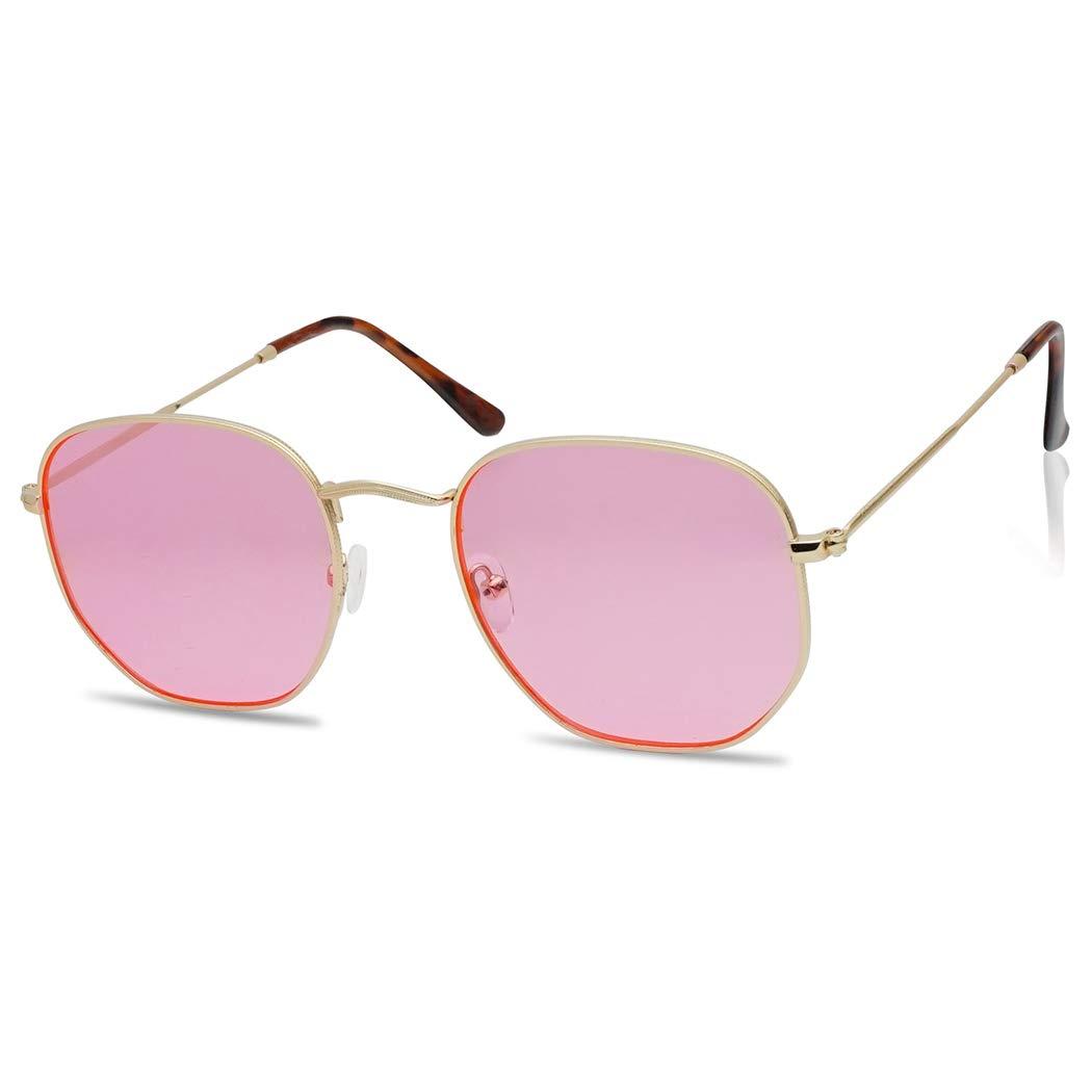 Round Geometric Pantone Colored Tinted Flat Lens Ultra Slim Metal Hexagonal Sun Glasses (Gold, Pink) by SunglassUP