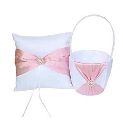 Nicetruc Satin Pink Bowknot Ring Bearer Pillow and Wedding Flower Girl Basket Set with Rhinestones Collection Wedding Anniversary Celebrations Party Decoration 1Set