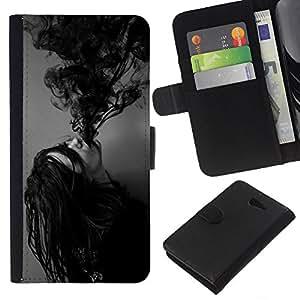 EJOY---La carpeta del tirón la caja de cuero de alta calidad de la PU Caso protector / Sony Xperia M2 / --Tinta Poseído Chica Demonio Negro Blanco