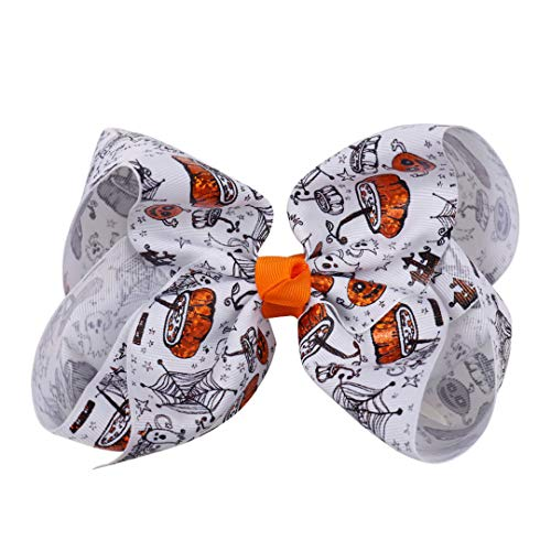 6 Inch Large Halloween Printed Hair Bows Pumpkin Spider Web Hair Clips For Teens Girls Festival Knotted Hair Accessories 6