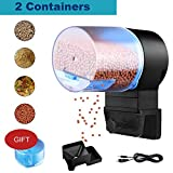 DOTSOG Digital Automatic Fish Feeder - Rechargeable Timer Fish Feeder with USB Charger Cable, Fish Food Dispenser for Aquarium or Fish Tank