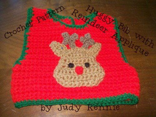 Crochet Pattern - Huggy Bib with Reindeer Applique