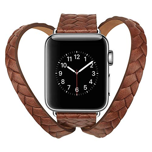 certainPL Double Tour Leather Band Replacement Bracelet Accessory for Apple Watch 4 44mm (Brown)