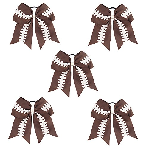 "CN 7"" Baby Girls Large Cheerleader Bow Boutique Grosgrain Ribbon Football Hair Bow With Ponytail Holder Elastic Tie Hair Band For Cheerleader Girls Teens - 5pcs Football Bow"
