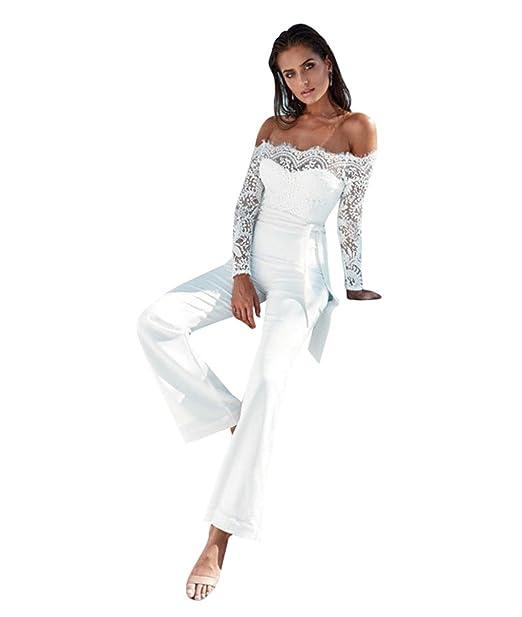 LvRaoo Donna Jumpsuit Pantaloni Lunghi Pizzo Playsuit Tuta Eleganti Tute da  Cerimonia Spiaggia Festa Cocktail con Cintura  Amazon.it  Abbigliamento 15477416194
