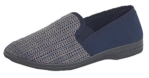 Mens Herringbone Pattern Twin Elasticated Gusset Slippers Navy