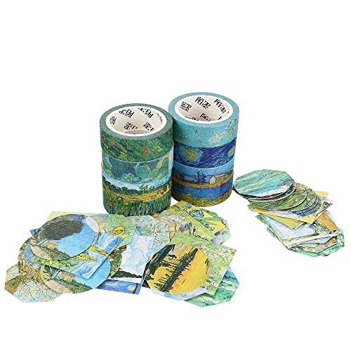Molshine Set of 8 Japanese Washi Masking Tape,Adhesive Sticky Paper Tape+ 90pcs Planner Stickers-Van Gogh Oil Painting Series Collection for Journals, Daily Planners,Decoration,DIY,Gift Packaging