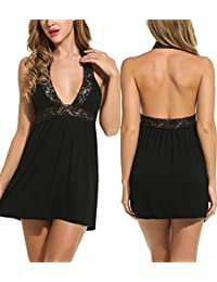 Womens Lace Lingerie Babydoll Mesh Chemise V Neck Nightwear Outfit