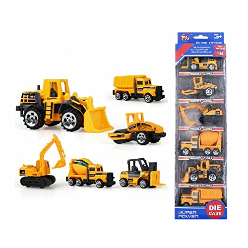 XADP 6 Pcs Play Vehicles Construction Vehicle Truck Cars Toys Set,Friction Powered Push Engineering Vehicles Assorted Construction for Boys and Girls by XADP (Image #5)