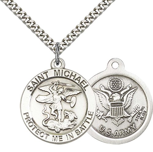 Saint Michael Medal Necklace (Sterling Silver St. Michael Pendant with 24