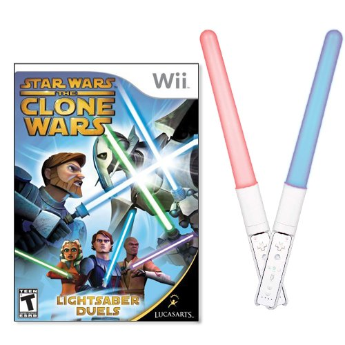 - Wii Star Wars The Clone Wars PLUS Dreamgear Dual Swords for Wii COMBO