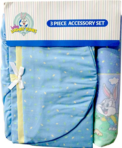 (Baby Looney Tunes 3 Piece Playday Accessory Set - Crib Skirt, Flannel Receiving Blanket, Diaper Stacker )