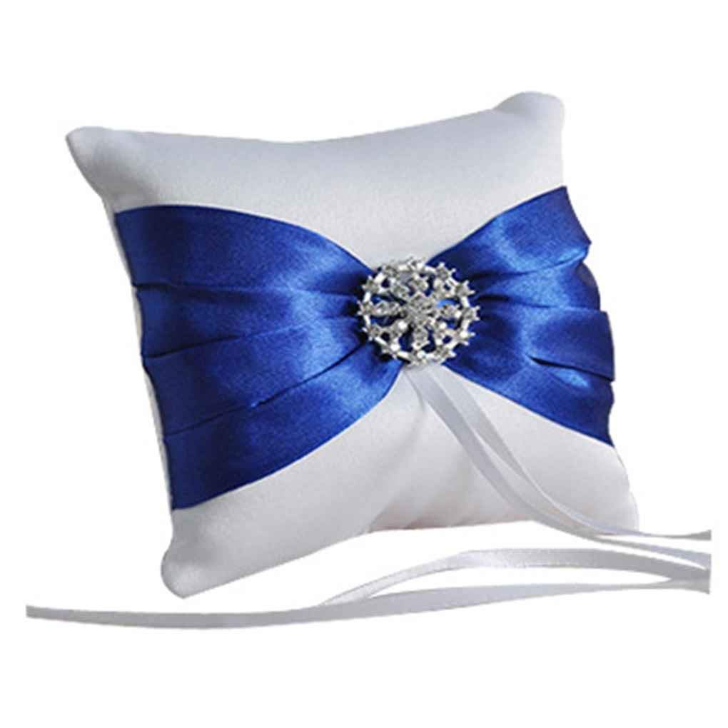 Premium Quality Bow Satin Wedding Ring Bearer Rhinestone Pillow Cushion 10 * 10cm