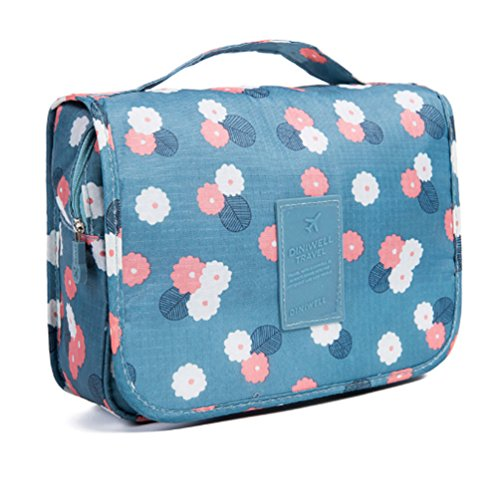 CalorMixs Hanging Toiletry Bag, Travel Organizer Cosmetic Wash Make Up Bag Case for Women Men Toiletry Kit Cosmetic Bag Travel Accessories, Blue Flowers