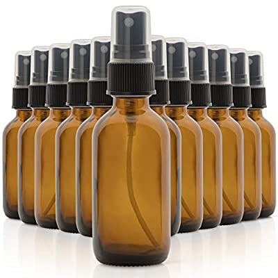 Set of 12, 2oz Amber Glass Spray Bottles for Essential Oils - with Fine Mist Sprayers - Made in the USA from The Product Hatchery LLC
