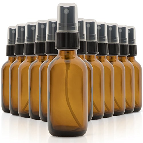 (Set of 12, 2oz Amber Glass Spray Bottles for Essential Oils - with Fine Mist Sprayers - Made in the USA)