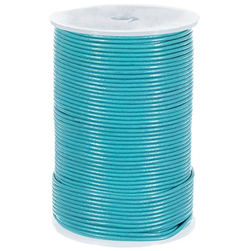 (25 Yards of Solid Round 2mm Turquoise Real and Genuine Leather Cord for use as Braiding String (2mm, Turquoise))