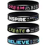 Dream, Believe, Inspire, Create Inspirational Bracelets, Ladies' Size - Set of 4 Silicone Wristbands